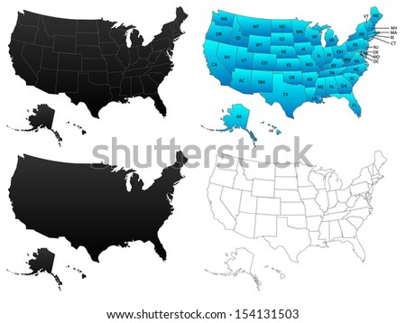 United States of America maps, flat, borders, contours and colored with states initials, illustration - stock photo