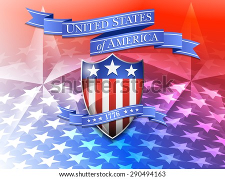 United States of America Shield and Star Background - American Background - Raster Version - stock photo