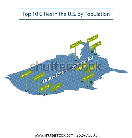 United states of America. Top 10 largest cities. Map of America. Isometric grid. Elements of this image furnished by NASA. illustration. - stock photo