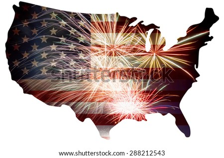 United States of America USA Flag in Map Silhouette Outline with Fireworks Background For 4th of July Illustration - stock photo