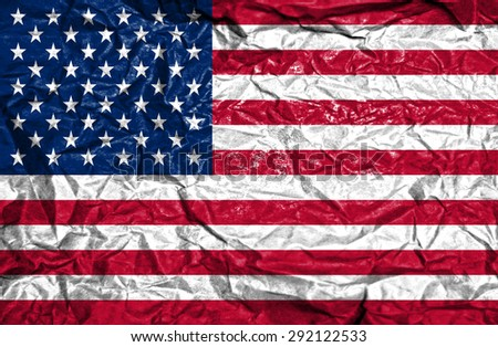 United States of America vintage flag on old crumpled paper background - stock photo