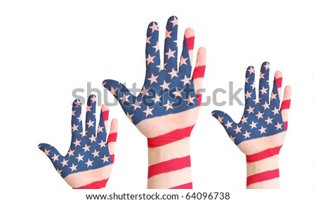 United states raished hands - stock photo