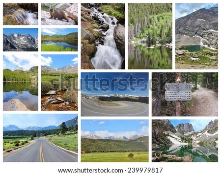 United States - Rocky Mountain National Park photo collage. Colorado scenic views. - stock photo