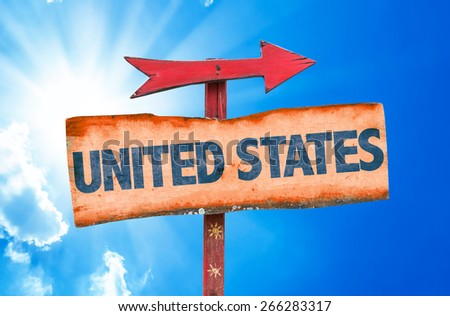 United States sign with sky background - stock photo