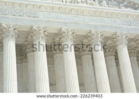 United States Supreme Court with Equal Justice Under Law Text - stock photo