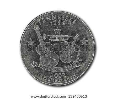 United States Tennessee quarter dollar coin on white with path outline - stock photo