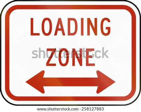 United States traffic sign: Loading Zone - stock photo