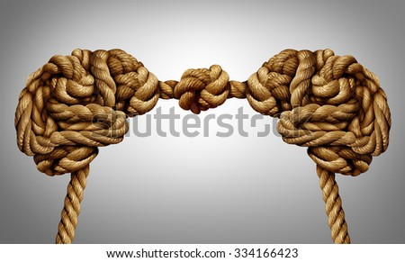 United thinking concept as an alliance for ideas exchange and common agreement as two brains made of rope tied together as a symbol for cooperation. - stock photo
