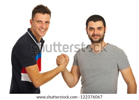 United two friends guys isolated on white background - stock photo