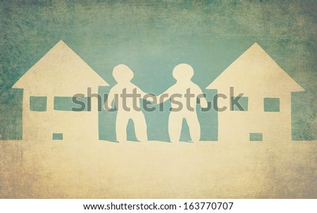 unity and friendship of neighbors - stock photo