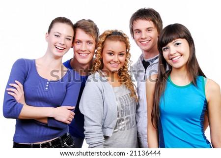 Unity of happy classmate friends. Studio shot on a white. - stock photo