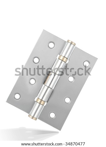 Unity Silver hinge with metal texture,isolated on white with clipping path. - stock photo