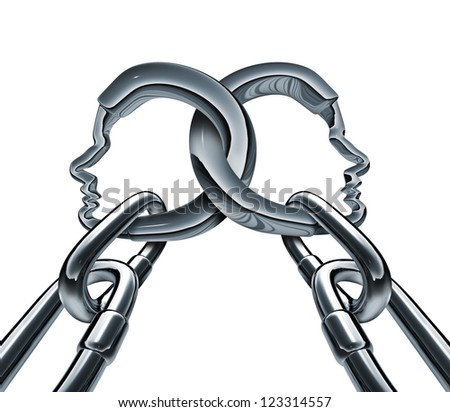 Unity strength and business group partnership as two metal chains shaped as a three dimensional human head linked together in a strong team network for success isolated on a white background. - stock photo