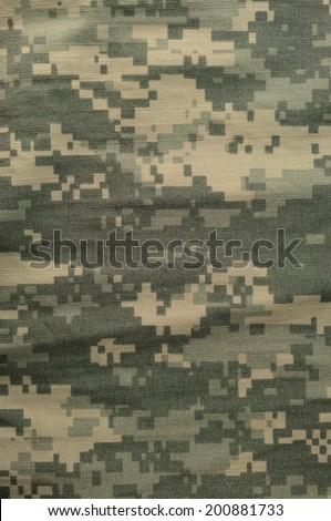 Universal camouflage pattern, army combat uniform digital camo, USA military ACU macro closeup rip-stop fabric texture background crumpled wrinkled foliage green desert sand tan NYCO cotton, vertical - stock photo