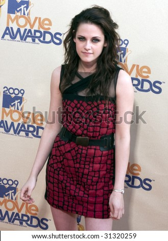 UNIVERSAL CITY, CA - MAY 31: Actress Kristen Stewart poses at the 2009 MTV Movie Awards Red Carpet at Gibson Amphitheater on May 31, 2009 in Universal City, California. - stock photo