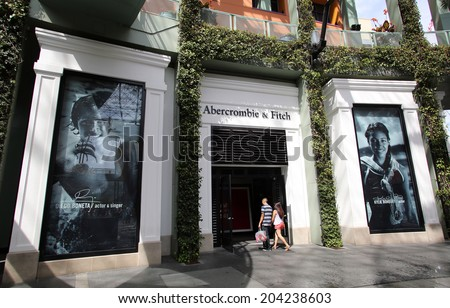 UNIVERSAL CITY, CALIFORNIA - TUES. JUNE 24, 2014: Shoppers walk past an Abercrombie & Fitch clothing store in Universal City, California, on Sunday, June 22,  2014. - stock photo