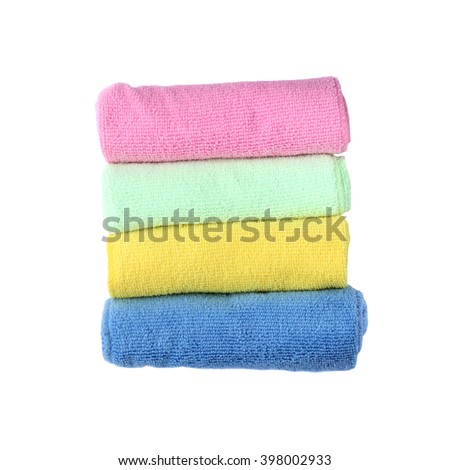 Universal microfiber towels isolated on white background - stock photo