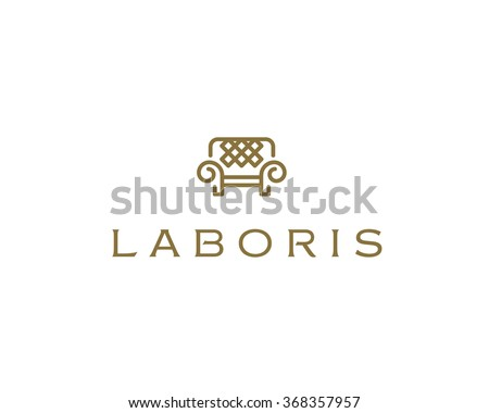 Universal premium furniture logo. Luxury universal interior design logotype symbol. Style line couch sofa chair icon sign. - stock photo