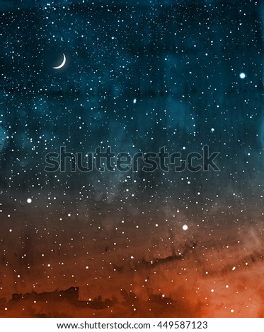 Universe filled with stars and moon. Watercolor - stock photo