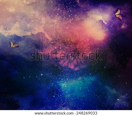 Universe filled with stars, nebula and butterflies - stock photo