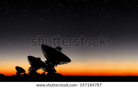 Universe Observatory. A group of telescopes. Elements of this image furnished by NASA - stock photo