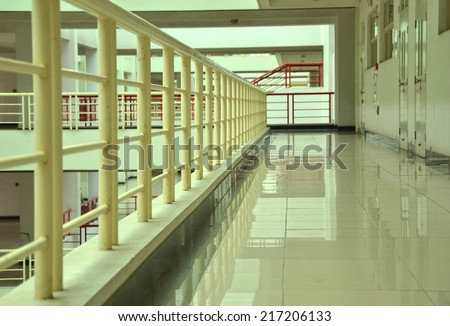 University campus corridor interior - stock photo