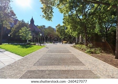 University campus on a sunny day in early Fall. - stock photo