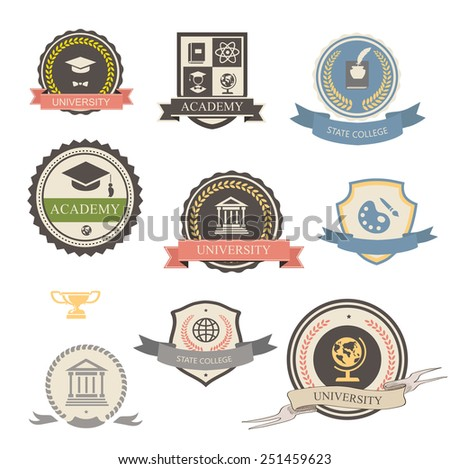 University, college and academy heraldic emblems logo with shields, buildings, wreaths, ribbons and education elements - stock photo