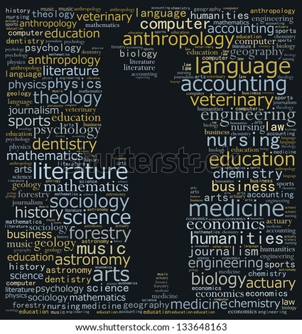 University education in text graphics - stock photo