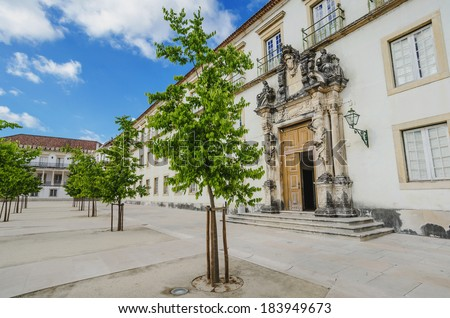 University of Coimbra, Portugal, on a cloudy day - stock photo