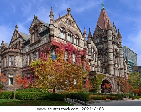 University of Toronto, Victoria College, colorful fall ivy - stock photo