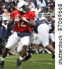 UNIVERSITY PARK, PA - APRIL 24: Penn State quarterback Kevin Newsome drops back to pass at Beaver Stadium April 24, 2010 in University Park, PA - stock photo
