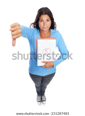 University Student With bad grade thumbs down - stock photo