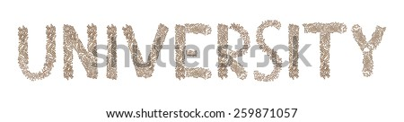 University written in letters formed with wooden cubes with letters isolated on white background - stock photo