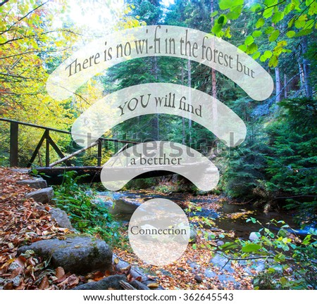 unknown motivational no wi-fi quote, healthy lifestyle conceptual background - stock photo