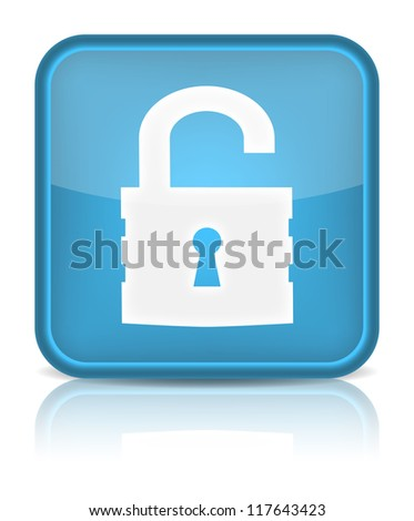 Unlock icon. Sign with reflection isolated on white. (Raster version) - stock photo