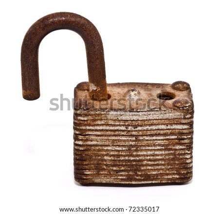 unlock old lock isolated on white background - stock photo