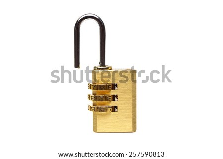 unlock security lock with password on isolated background - stock photo