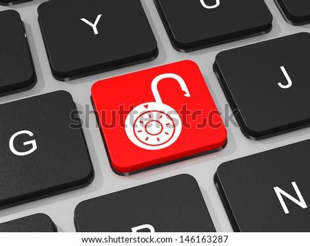 Unlocked lockpad key on keyboard of laptop computer. 3D illustration. - stock photo