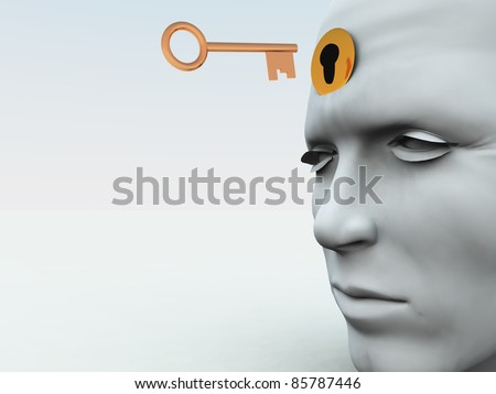 Unlocking someones mind. - stock photo
