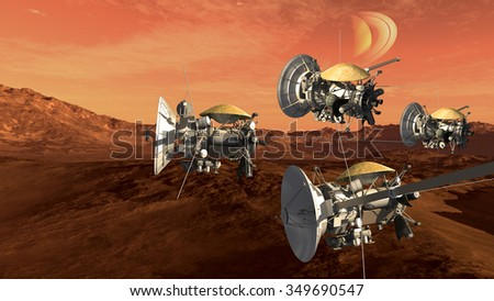 Unmanned spacecraft probes scouting a Mars like red planet, for space exploration and science fiction backgrounds. - stock photo