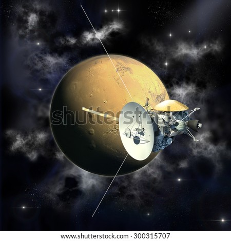 Unmanned spacecraft similar with the Cassini orbiter passing a Mars like planet. Elements of this image furnished by NASA. - stock photo