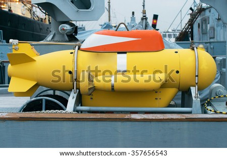 Unmanned underwater vehicle on the ship. - stock photo