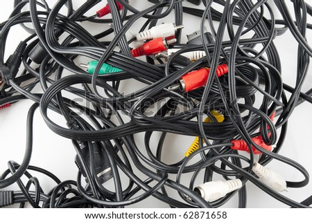 Unorganized Wires Isolated on White Background - stock photo