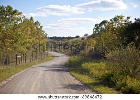 Unpaved country road and pasture with green trees and blue sky - stock photo