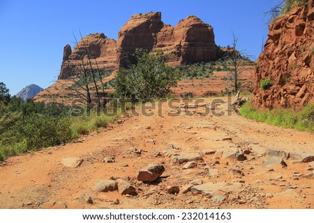Unpaved Off-Road Vehicle Path up in the Mountains of Sedona, Arizona USA - stock photo