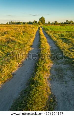 Unpaved road at sunrise - stock photo