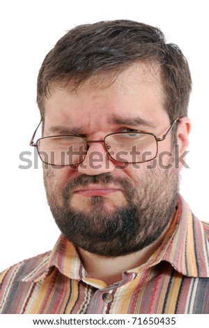 unpleased adult man with glasses over white - stock photo