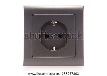 Unplugged European grey metallic electric outlet - stock photo