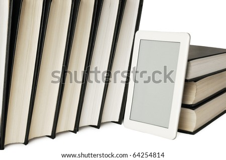 Unreal model of electronic reader eBook and paper books on white background - stock photo